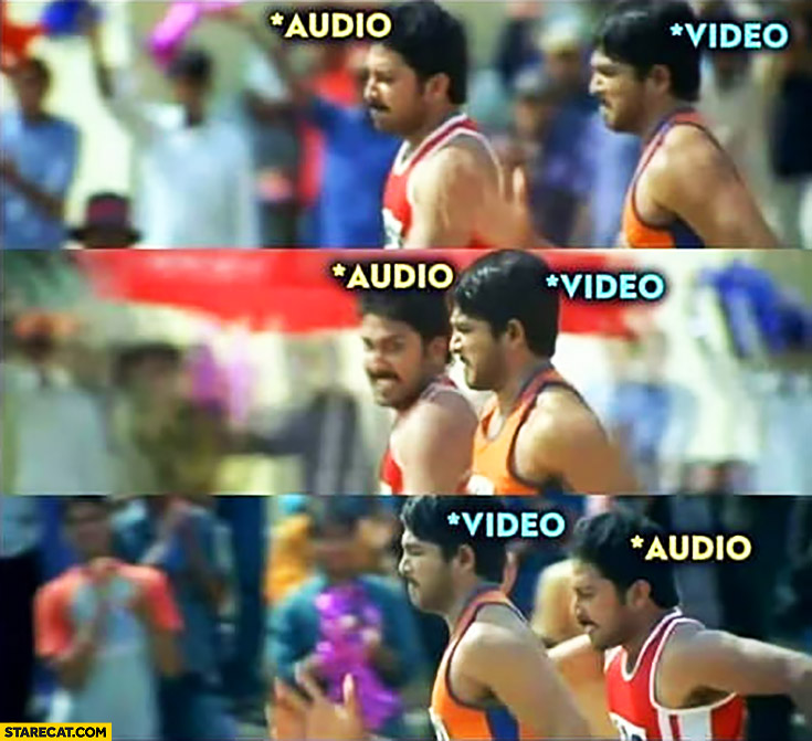 Audio video running race when playing a movie video
