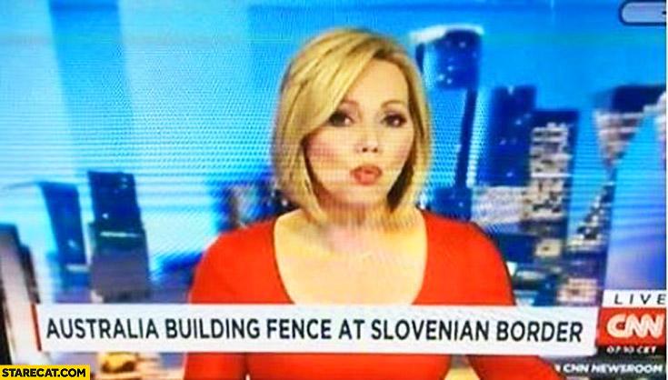 Australia building fence at Slovenian border TV news fail CNN