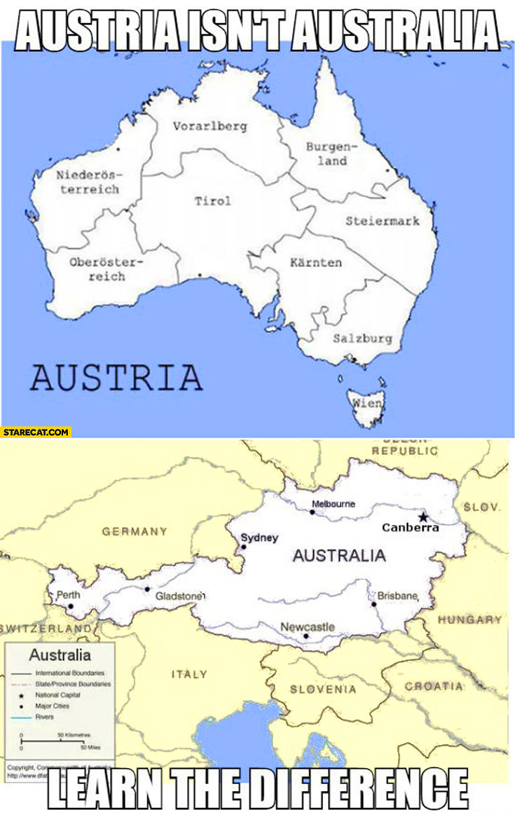 Austria isn't Australia learn the difference
