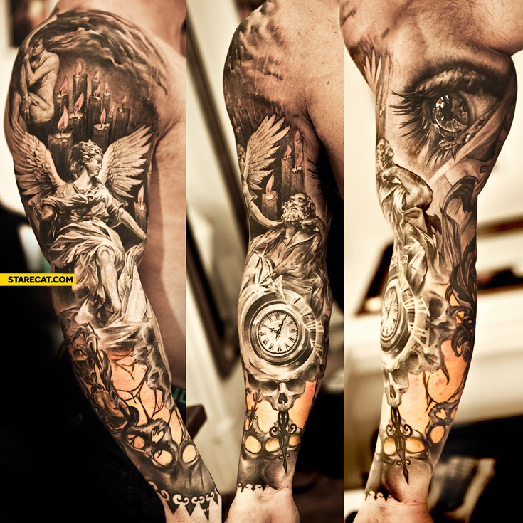Awesome tattoo angel clock eye