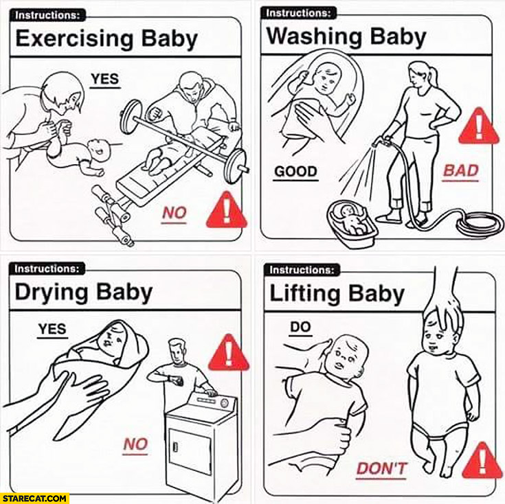 Baby instructions manual exercising washing drying lifting do don't good bad yes no