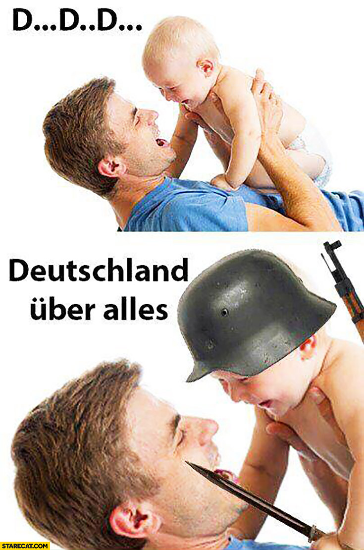Baby kid saying his first words: d d d Deutschland uber alles
