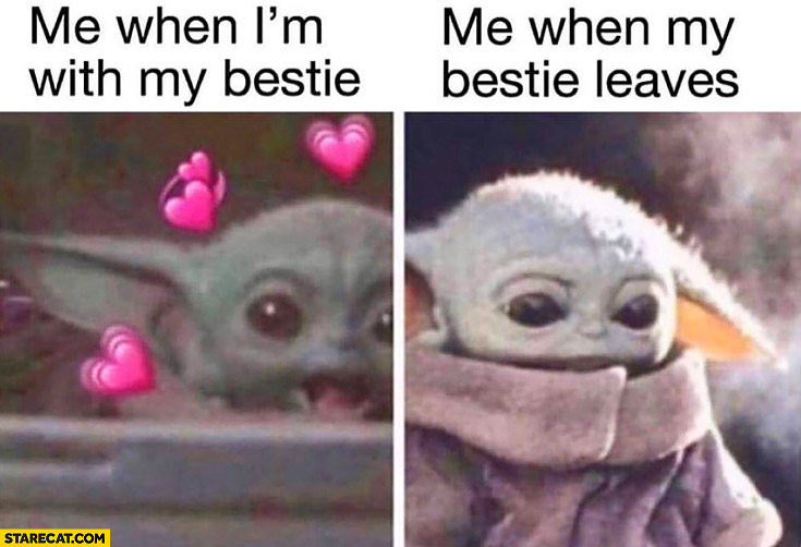 Baby yoda me when I'm with my bestie, me when my bestie leaves