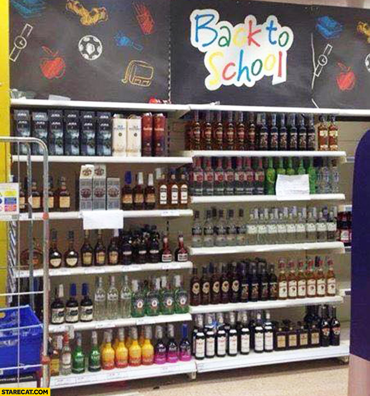 Back to school alcohol shelf
