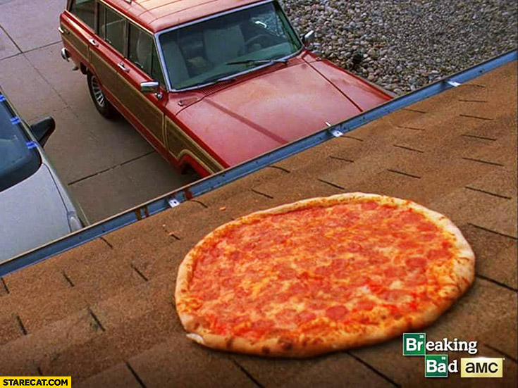 Baking cooking heating pizza on the roof Breaking Bad tv series