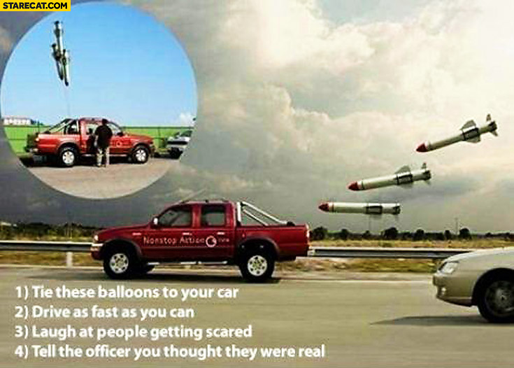 Balloons looking like war missiles tied to car