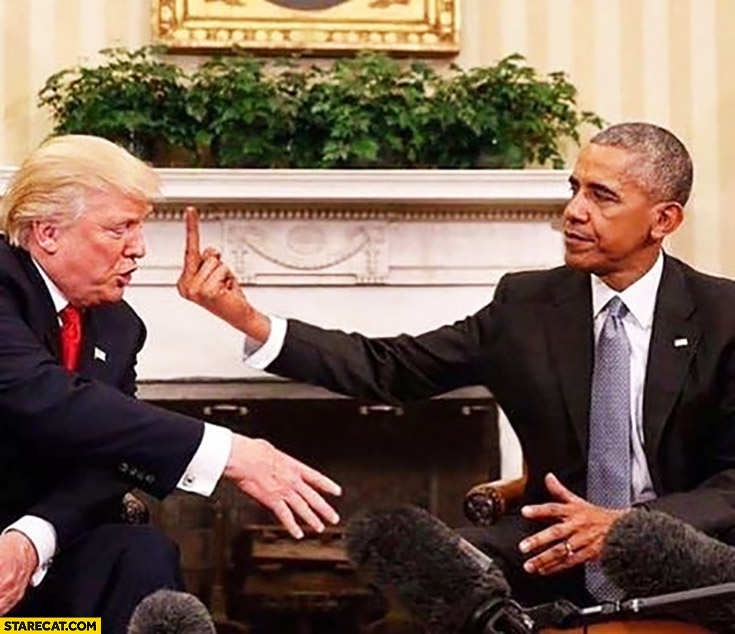 Barack Obama shows Donald Trump middle finger fck instead of a handshake
