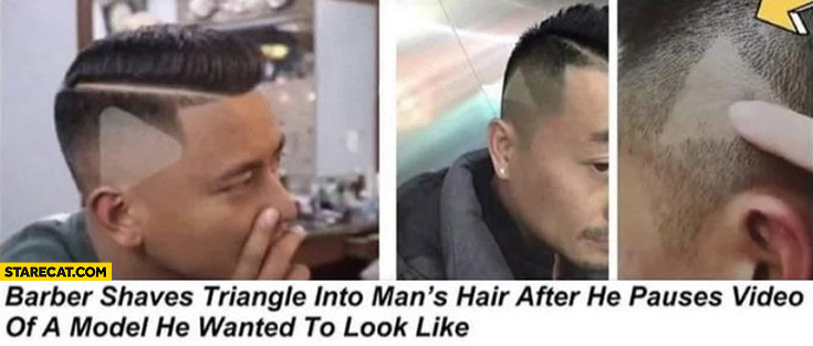 Barber shaves triangle into man's hair after he pauses video of a model he wanted to look like
