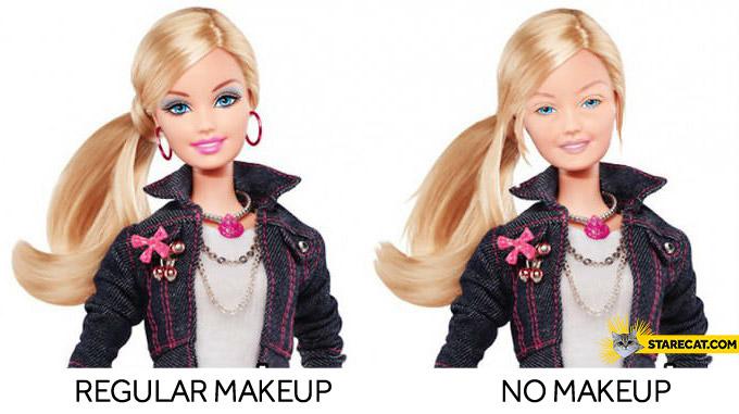 Barbie makeup no makeup comparison