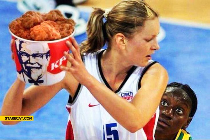 Basketball players KFC basket