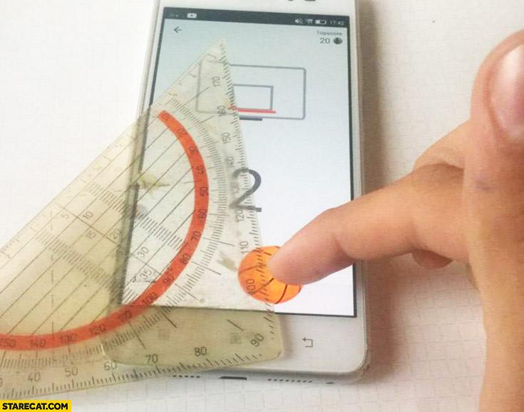 Basketball smartphone game cheating with a ruler angle