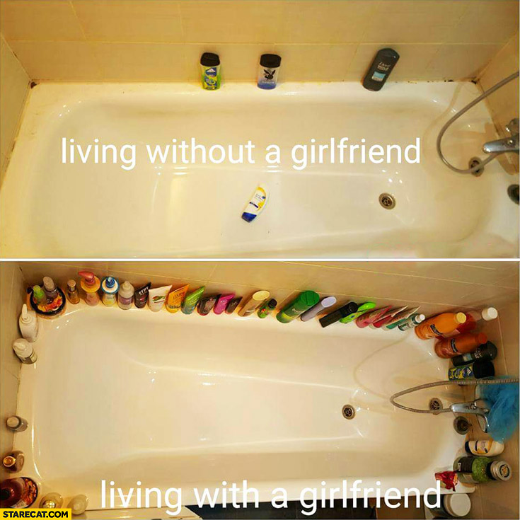 Bathroom: living without girlfriend, living with a girlfriend comparison