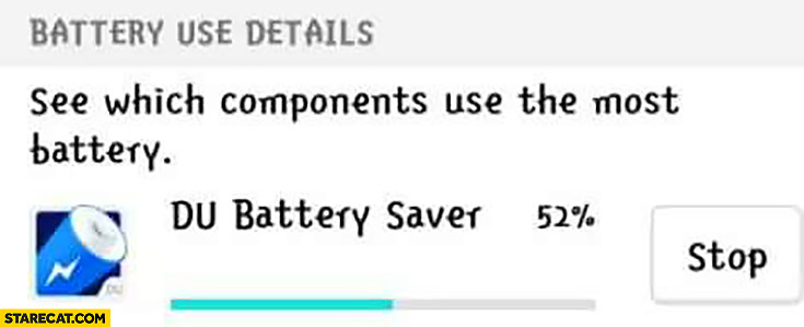 Battery use details Du battery saver used most of the battery fail