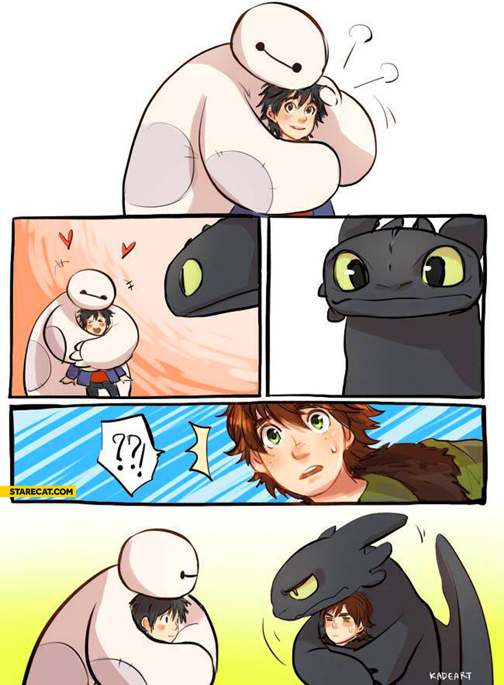 Baymax and toothless adorable