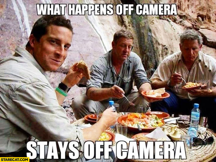 Bear Grylls what happens off camera stays off camera eating food