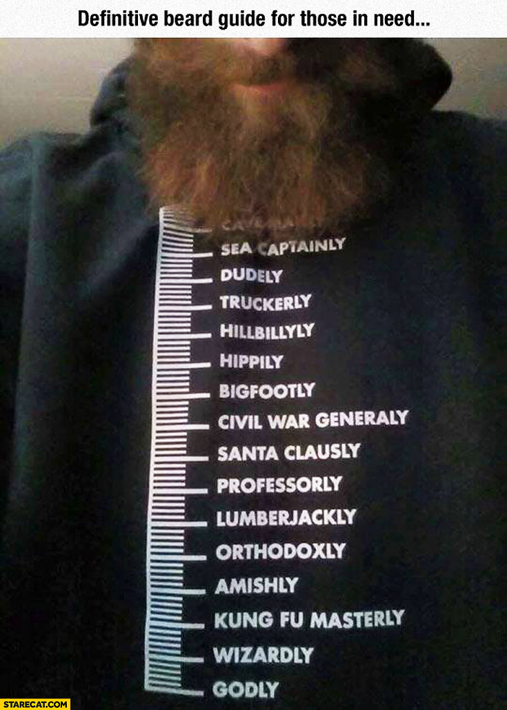 Beard length guide: dudely, sea captain, hippy wizard. Creative T-shirt
