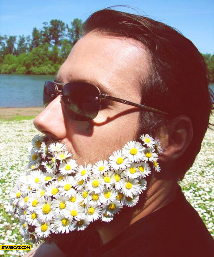 Beard made of flowers