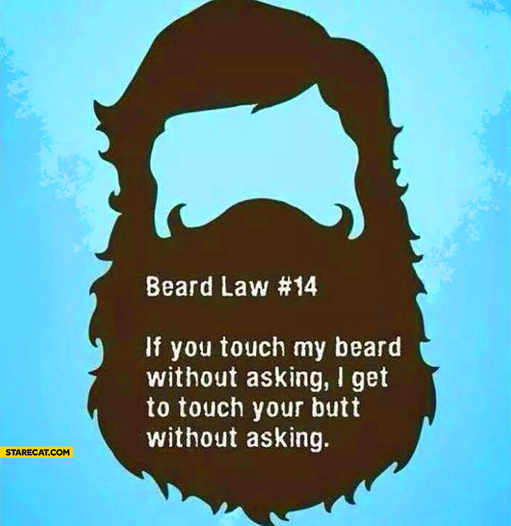Beard rule if you touch my beard without asking I touch your butt without asking