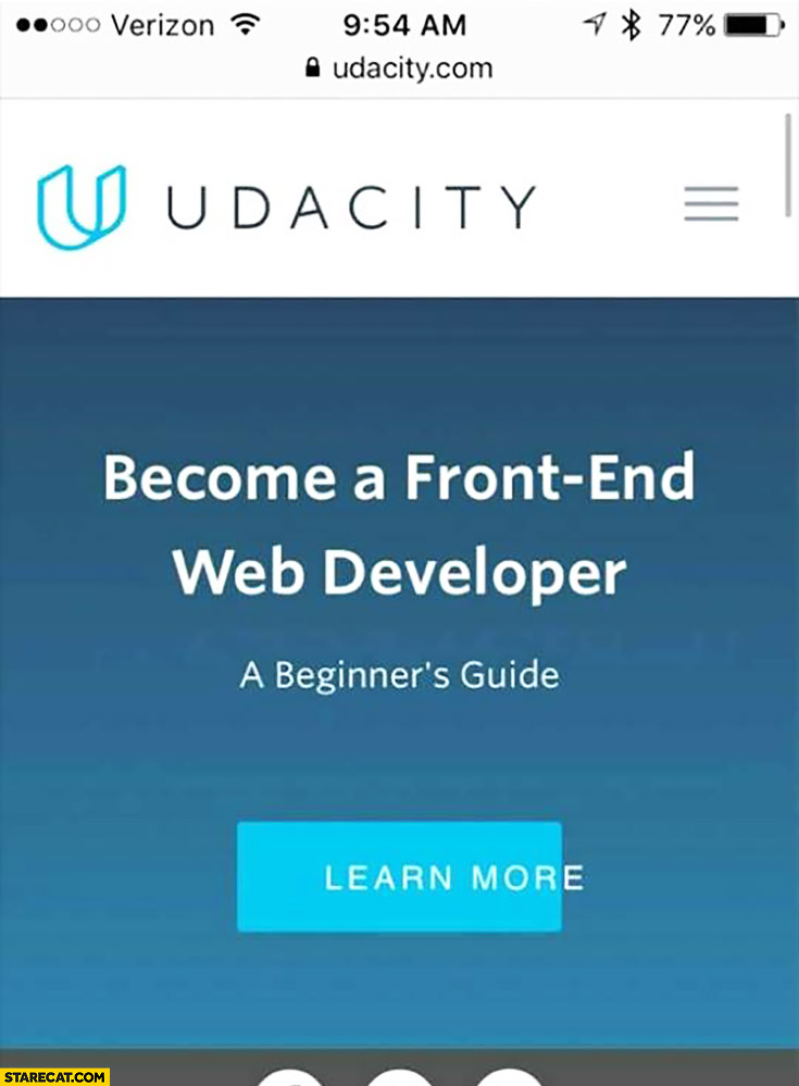 Become a front-end developer learn more button fail Udacity