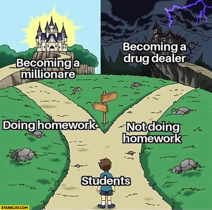 Becoming a millionaire vs a drug dealer doing homework vs not doing homework two ways