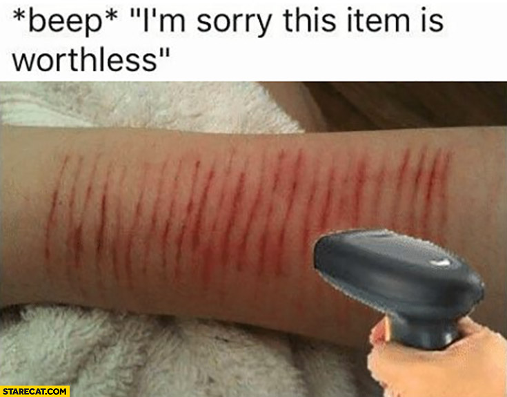 Beep sorry this item is worthless skin cuts scar bar code scanner