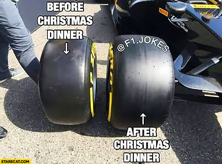 Before Christmas dinner, after Christmas dinner Formula 1 tires got fat