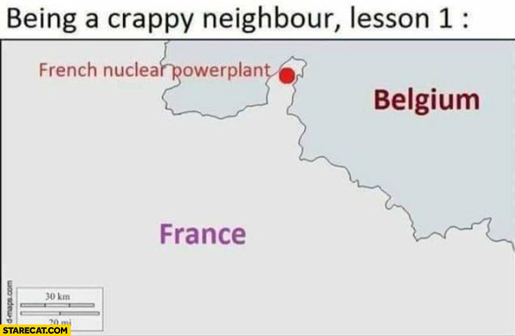 Being a crappy neighbour, lesson 1: French nuclear powerplant near Belgium