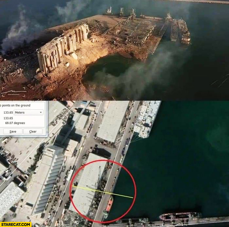 Beirut Lebanon explosion blast how big was the site satellite photos before and after