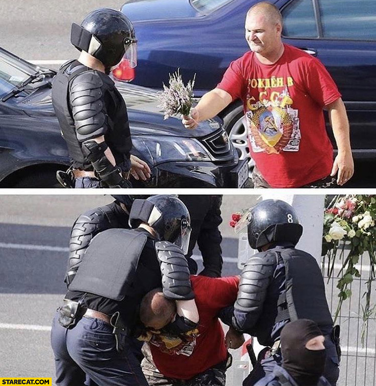 Belarus man gives policeman flowers police beats him