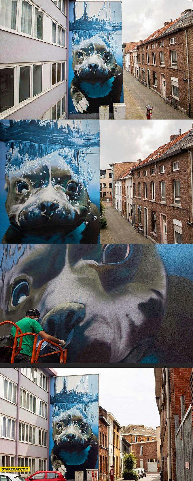 Belgian street art dog underwater