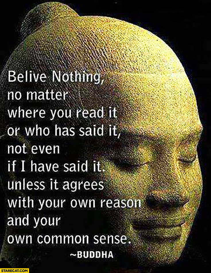 Believe nothing, no matter where your read it or who said it, not even if I have said it unless it agrees with your own reason and your own common sense. Buddha quote