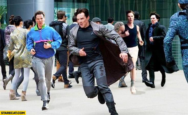 Benedict Cumberbatch running collage