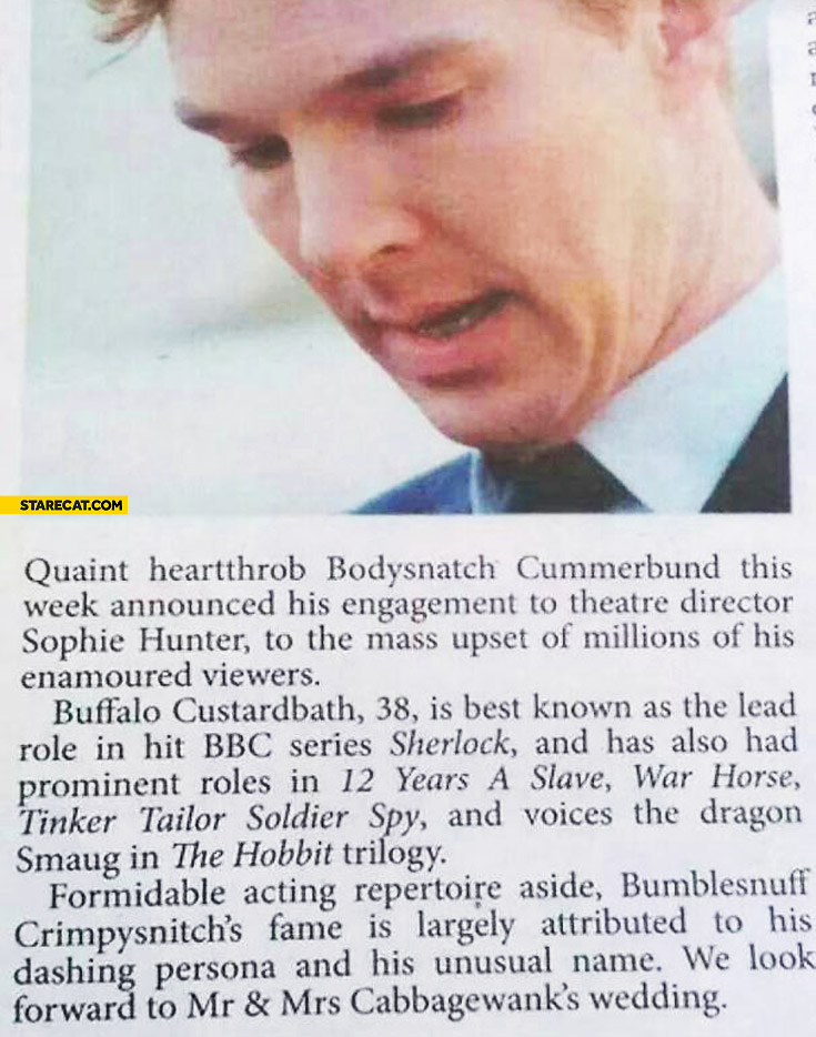 Benedict Cunterbatch misspelled name article