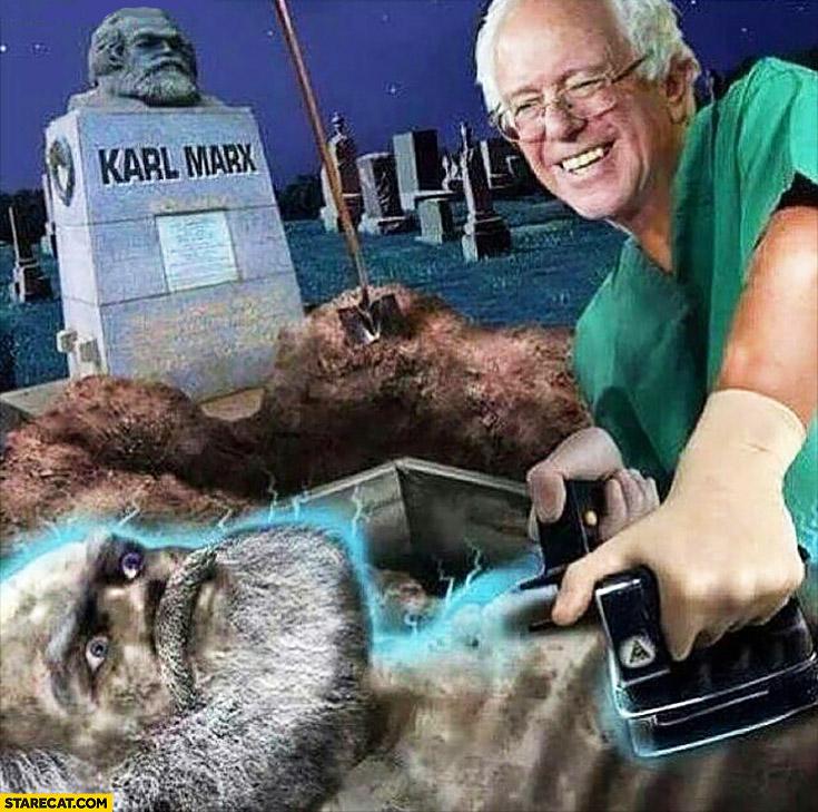 Bernie Sanders resurrecting Karl Marx meme