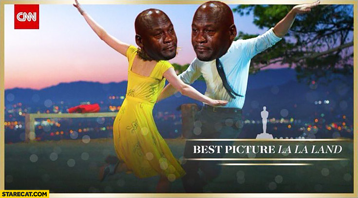 Best picture La La Land black man sad face meme mistake