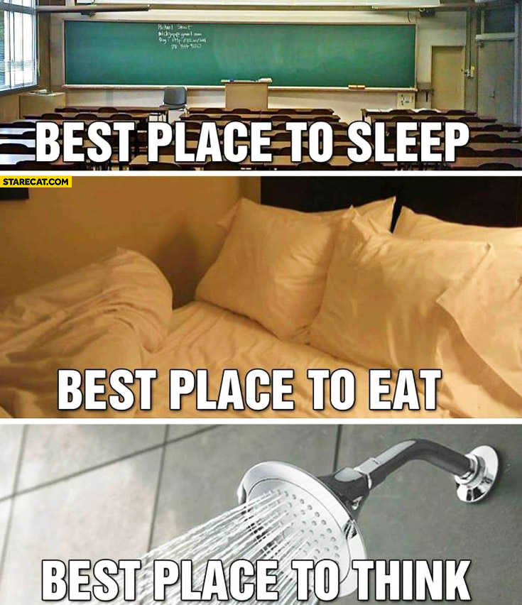 Best place to sleep classroom best place to eat bed best place to think shower