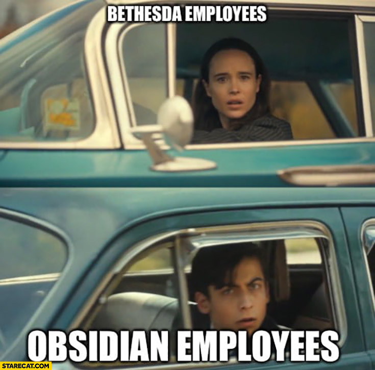 Bethesda employees vs Obsidian employees looking at each other