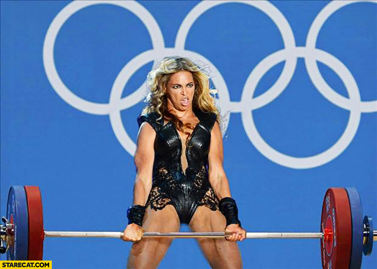 Beyonce heavy weightlifting at Rio Olympics photoshopped