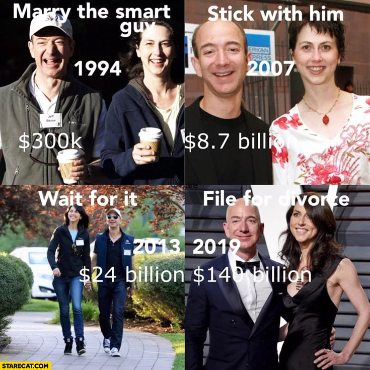 Bezos wife divorce marry the smart guy, stick with him, wait for it, file for divorce