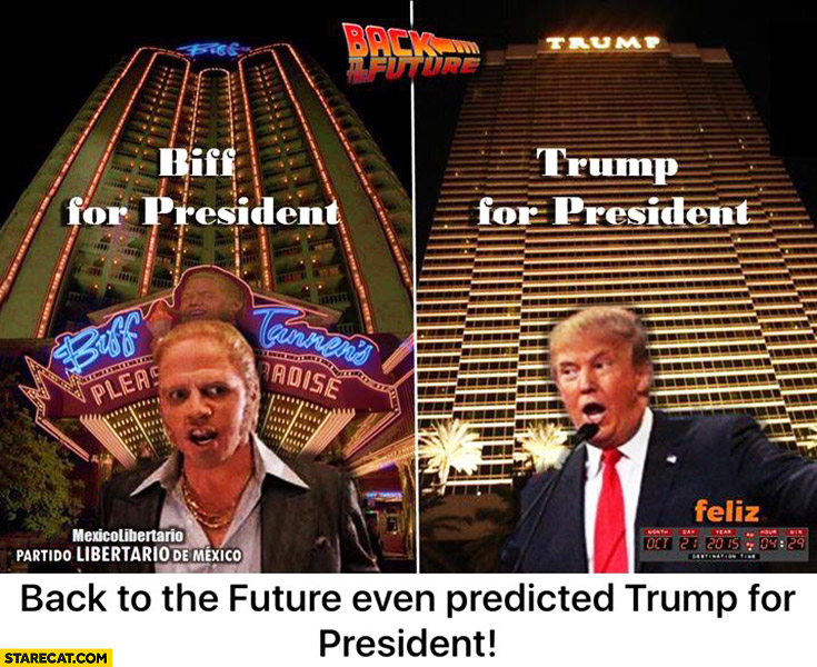 Biff for president, Trump for president. Back to the Future predicted Trump for President