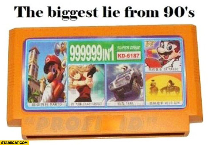 Biggest lie from the 90's 999999 in 1 cartridge console