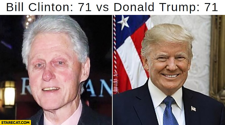 Bill Clinton at 71 vs Donald Trump at 71 appearance comparison
