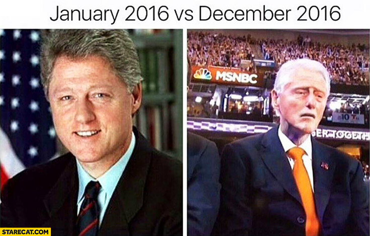 Bill Clinton January 2016 vs December 2016 comparison trolling