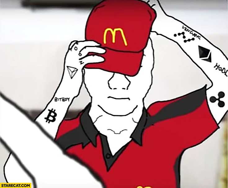 Bitcoin holder investor has to work at McDonald's due to low value, puts on McDonald's hat meme