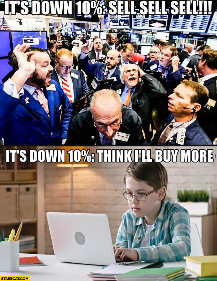 Bitcoin it's down 10% percent exchange: sell sell sell, smart kid think I'll buy more