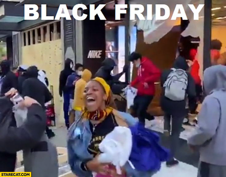 Black Friday black people looting Nike shop Minneapolis riot memes