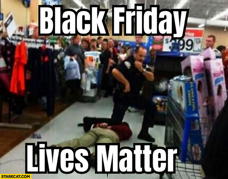 Black friday lives matter policemans knee on a black person