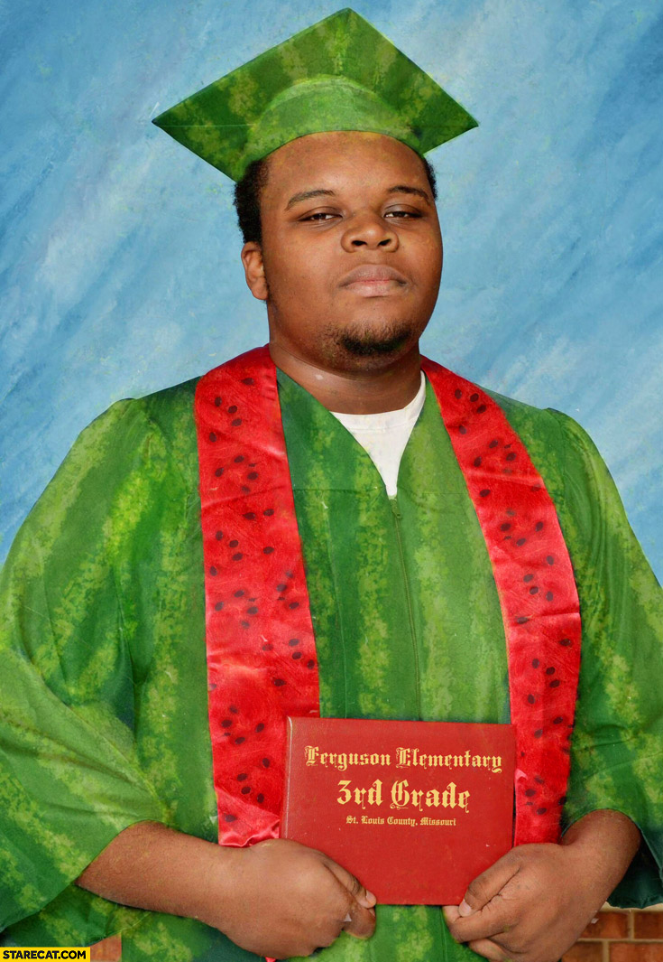 Black guy ferguson elementary 3rd grade watermelon outfit