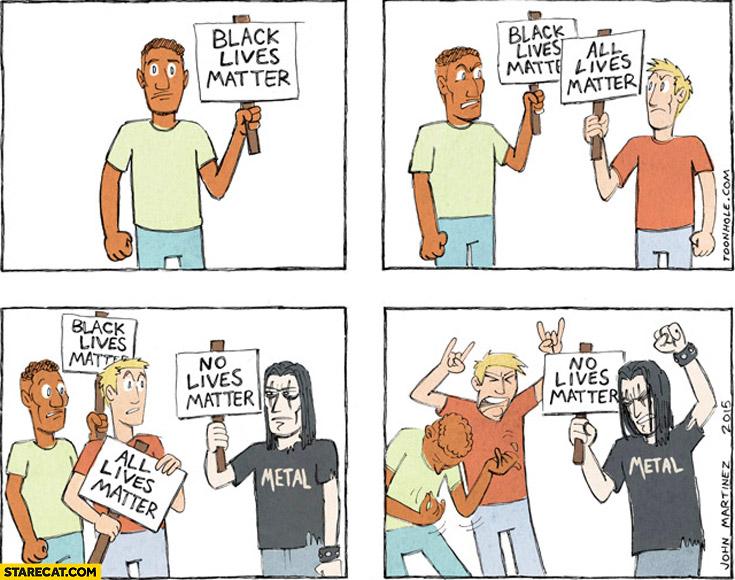Black lives matter, all lives matter, no lives matter metal