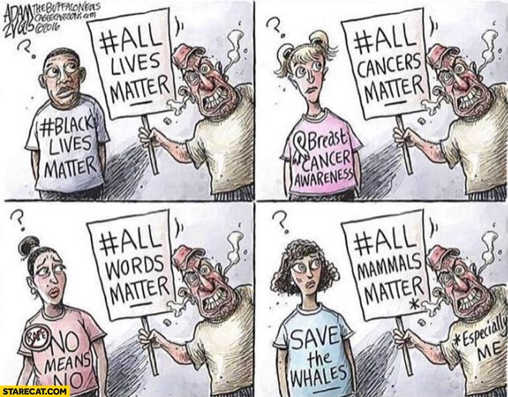 Black lives matter vs all lives matter, all cancers matter, all words matter, all mammals matter